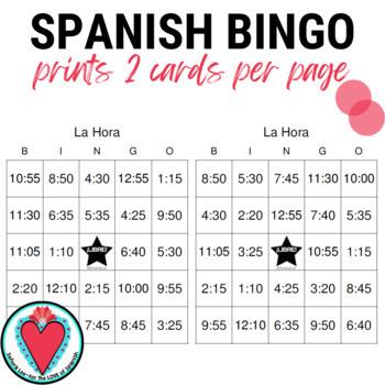 Spanish Time Bingo - Telling time in Spanish