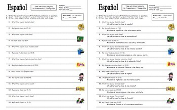 Spanish Time Bundle: Vocabulary, Listening, Quiz, and 4 Worksheets