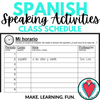 Spanish Speaking Activity - Time Class Schedule