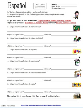 spanish time and class subjects responses worksheet by sue summers. Black Bedroom Furniture Sets. Home Design Ideas