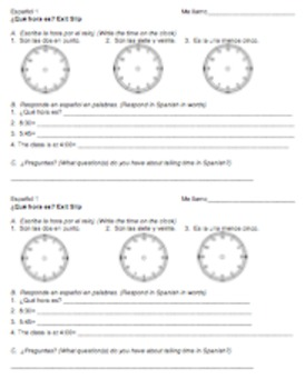 Spanish Time Hora Unit, Activities, and Assessments
