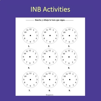 Spanish Time La hora PowerPoint and Interactive Notebook Activities