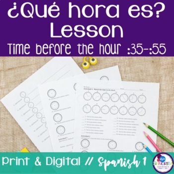 Spanish Time Lesson - Before the Hour :35-:55