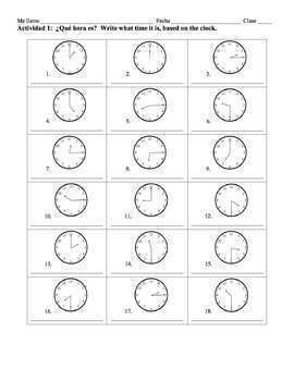 Spanish Time Lesson - on the hour, quarter, and half hour