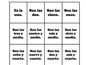 Spanish Time Matching Cards