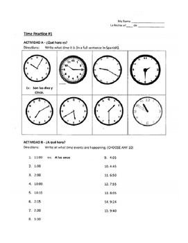 Spanish Time Notes & Practice Page