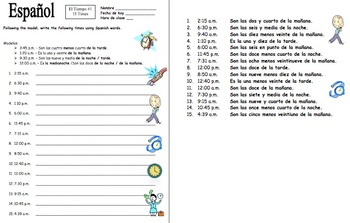 Tiempo-Weather Vocabulary Presentation, Worksheets and Activities