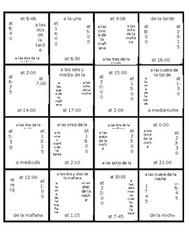 Spanish Time Puzzle  - Challenging!