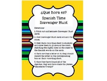 Spanish Time Scavenger Hunt: Que Hora Es