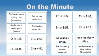 Telling Time in Spanish Task/Flash Cards