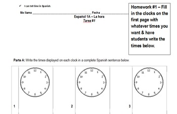 "Spanish ""Telling Time"" 1-week Unit – Notes & Activities-reading/writing/speaking"