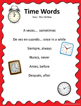 Spanish Time Words Song