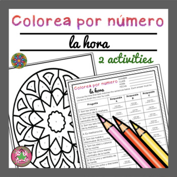 Spanish Time Worksheet  | Color by Number | Colorea por número