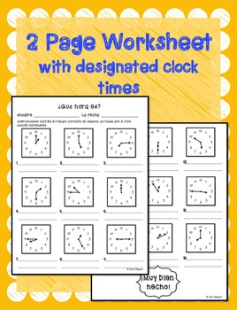 spanish time worksheet or test que hora es spanish telling time activity. Black Bedroom Furniture Sets. Home Design Ideas