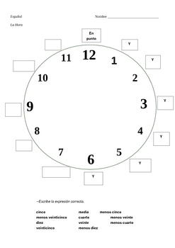 Spanish Time Worksheets