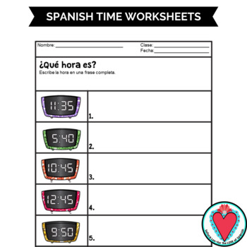 Spanish Time Worksheets Telling Time In Spanish Tpt
