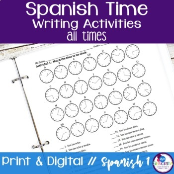 Spanish Time Writing Activities - all times