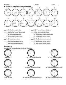 Spanish Time Writing Activities - Before the Hour :35-:55