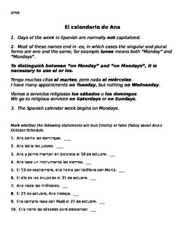 Spanish Time and Calendar Student Worksheets