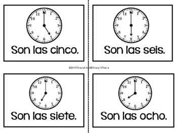 Spanish Analog Clocks with Spanish Time Phrases Word Wall (Spanish Only)