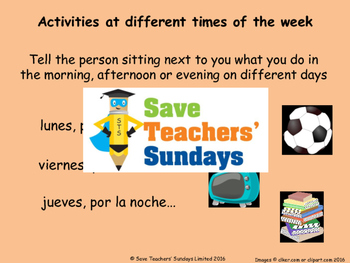 Spanish Times of the day Lesson plan, PowerPoint (with audio), and Worksheet