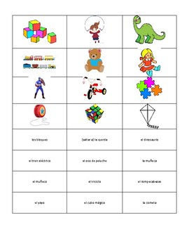 Spanish Toy Vocabulary Concentration Game