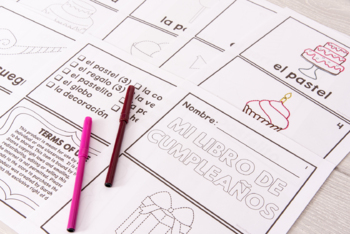 Spanish Speech Therapy Tracing Mini-Book: El cumpleaños - Birthday