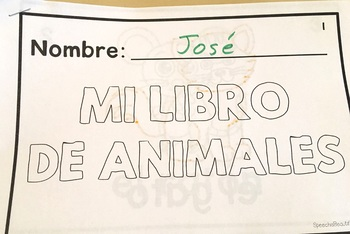 Spanish Speech Therapy Tracing Mini-Book: Los animales - Animals