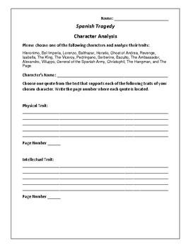 Spanish Tragedy Character Analysis Activity - Thoma Kyd
