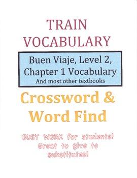 Spanish Train Vocabulary Crossword Puzzle & Word Find