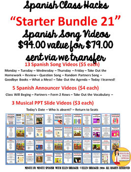 256 Spanish Transition Videos Starter Kit for CI TCI and the Best Teaching Ever!