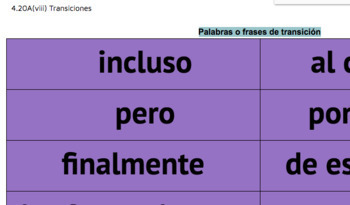 Spanish Transition Words or Phrases Aligned to Spanish STAAR Writing!
