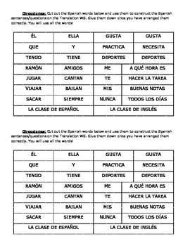 Spanish Translations Cut & Paste