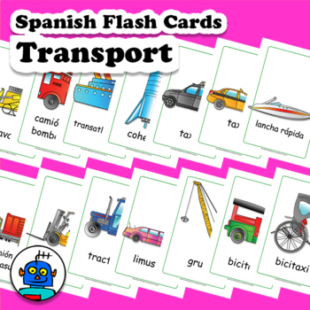 Spanish Transport Vehicles Flash Cards. Bike, truck, bus, boat, train, ufo...