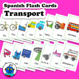 Spanish Transport Vehicles Flash Cards. Bike, truck, bus,