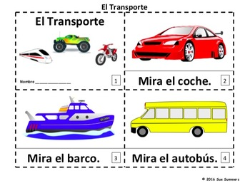 Spanish Transportation 2 Emergent Reader Booklets - El Transporte