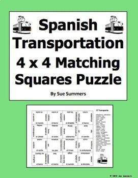 Spanish Transportation 4 x 4 Matching Squares Puzzle - Transporte