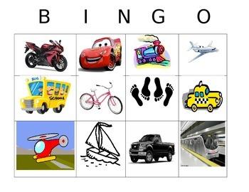 Spanish Transportation Bingo