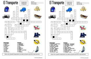 Spanish Transportation Crossword Puzzle and Vocabulary - El Transporte