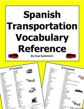 Spanish Transportation / Transporte Vocabulary Reference