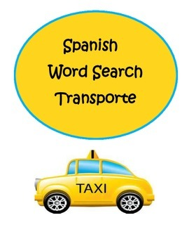 Spanish Transportation Transporte Word Search Puzzle