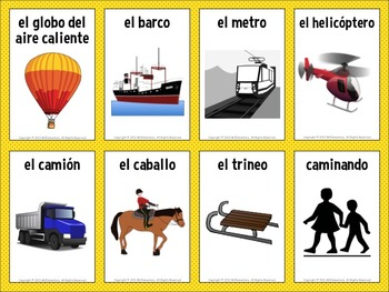 Spanish Transportation Vocabulary Cards