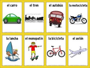 spanish transportation vocabulary cards by mr elementary tpt. Black Bedroom Furniture Sets. Home Design Ideas