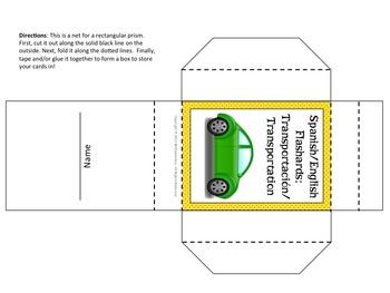 Spanish Transportation Vocabulary Cards