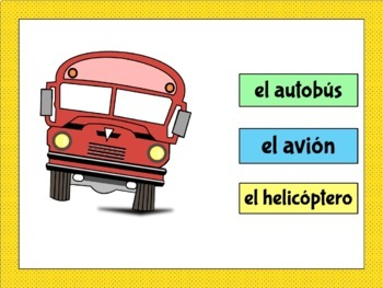 Spanish Transportation Vocabulary Cards and Word Wall