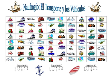 Spanish Transportation Vocabulary Speaking/Writing  Activity-Naufragio