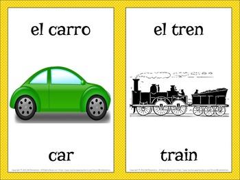 Spanish Transportation Vocabulary Word Wall