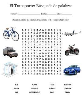 Spanish Transportation Word Search - Buscapalabras de transporte