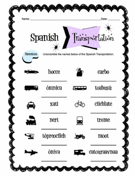 Spanish Transportation Words Worksheet Packet