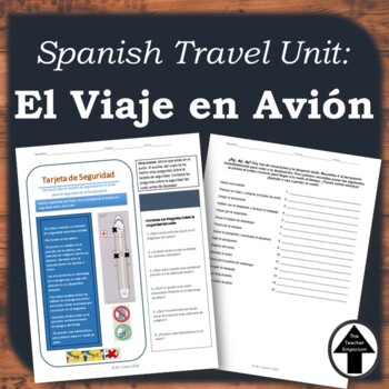 Spanish Travel Unit: Viaje en Avion, Airport + Airlines Safety Card Activity
